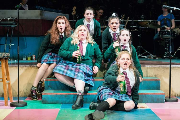 The cast of Our Ladies of Perpetual Succour, before their big night out. The play is an International Festival of Arts & Ideas production at Yale Repertory Theater. Photo by Manuel Harlan