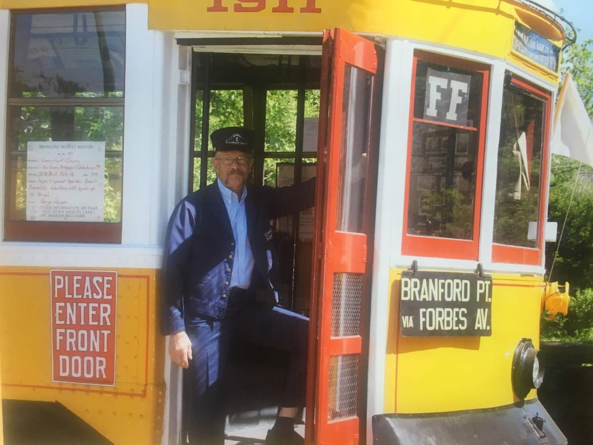 Ever since he was a small boy, George Papuga has been involved with the Shore Line Trolley Museum. Photo courtesy of George Papuga