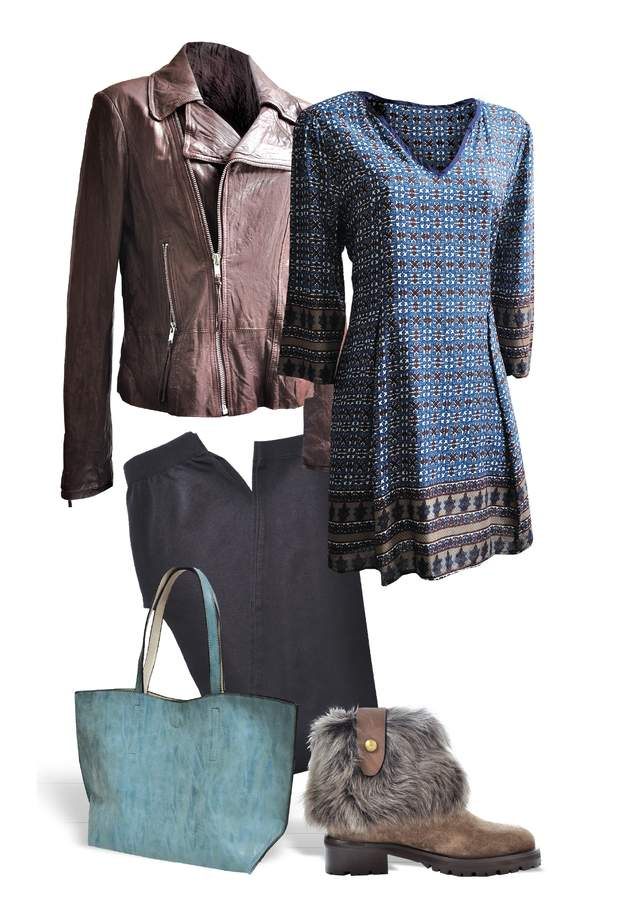 These items can be found locally at Polished Boutique in Branford: 		  Peasant Tunic by She & Sky in Blue and Rust, $36.99  	Black Leggings by Nikibiki, $27.99  	Reversible Bag by Joy Susan in Tea and Stone, $62  At Roberston Madison in Madison:   	Aubergine Washed Leather Biker Jacket by June, $695  	Suede Bootie with Fur Cuff by Virois Chaussures, $625    Fashion coordinated by Denise Loyd and  photographed by Julie Johnson