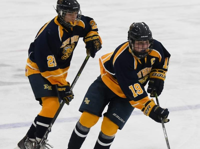 Dave Amatruda, Chris Teto, and the Yellowjackets' boys' ice hockey team took a 3-1 loss against North Branford in the first round of the Division II State Tournament on March 6. Photo by Kelley Fryer/The Courier