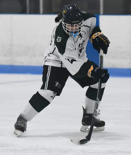 Forward Sydney Miles is one of several freshmen who's making an impact for the Guilford girls' ice hockey squad early on this season. Photo by Kelley Fryer/The Courier