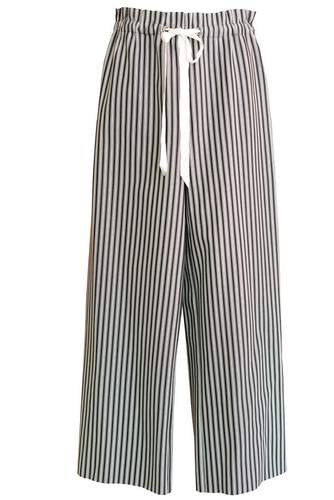 Paper-bag pant in black and white stripe, $198  Photographed by Kelley Fryer/elan Magazine