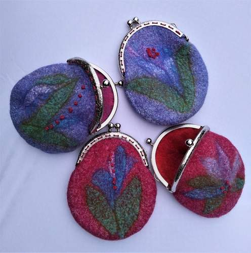 Silk and merino wool coin purses, Catherine Stebinger